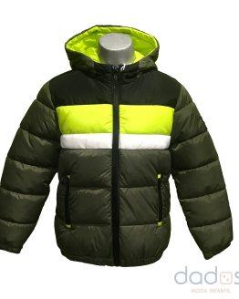 IDO chaquetón térmico chico verde kaki bandas fluor