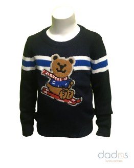 Guess jersey niño oso azul marino oso raya central