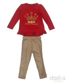 Guess conjunto niña legging dorado camiseta corona