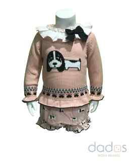 Lolittos colección Teckel conjunto niña rosa jubón y cubre