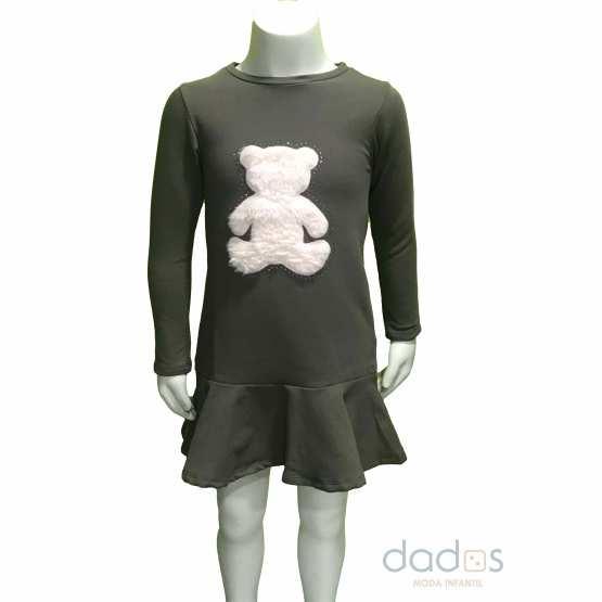 Ido vestido algodón gris oso rosa pelo