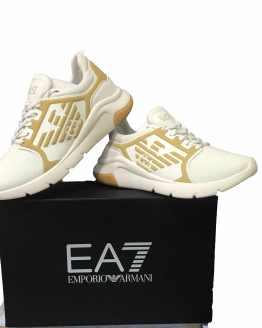 Armani EA7 sneaker blanca y dorada
