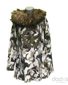 Bella Bimba Vestido Meraki camuflaje capucha pelo desmontable marmota