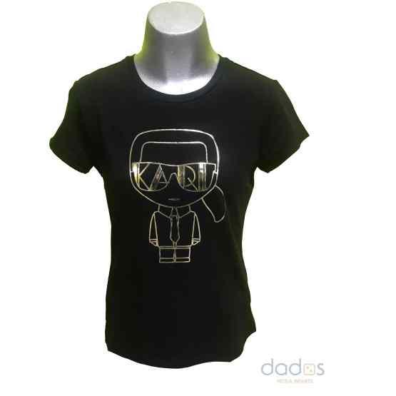 Karl Lagerfeld camiseta chica negra dibujo dorado relieve