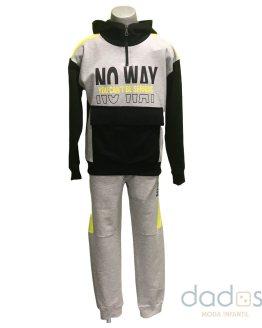 Pi-X conjunto chico jogging gris sudadera combinada No Way