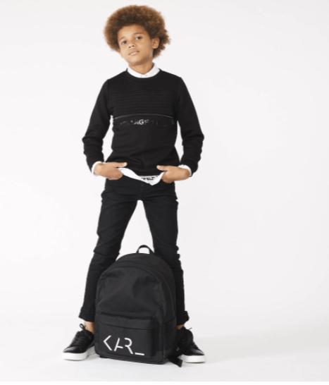 Karl Lagerfeld sudadera chico negra cremallera central