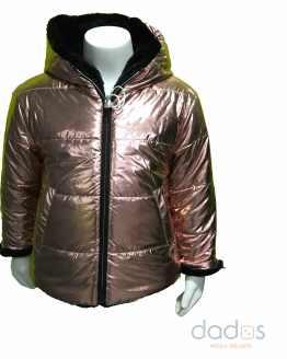 IDO chaquetón niña reversible bronce y pelo negro