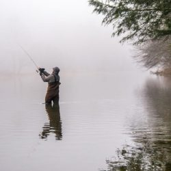 Man Fishing In a River - Bigstock Photo
