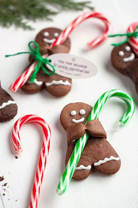 21 Christmas Party Ideas for Kids Chocolate Gingerbread Men with Candy Canes