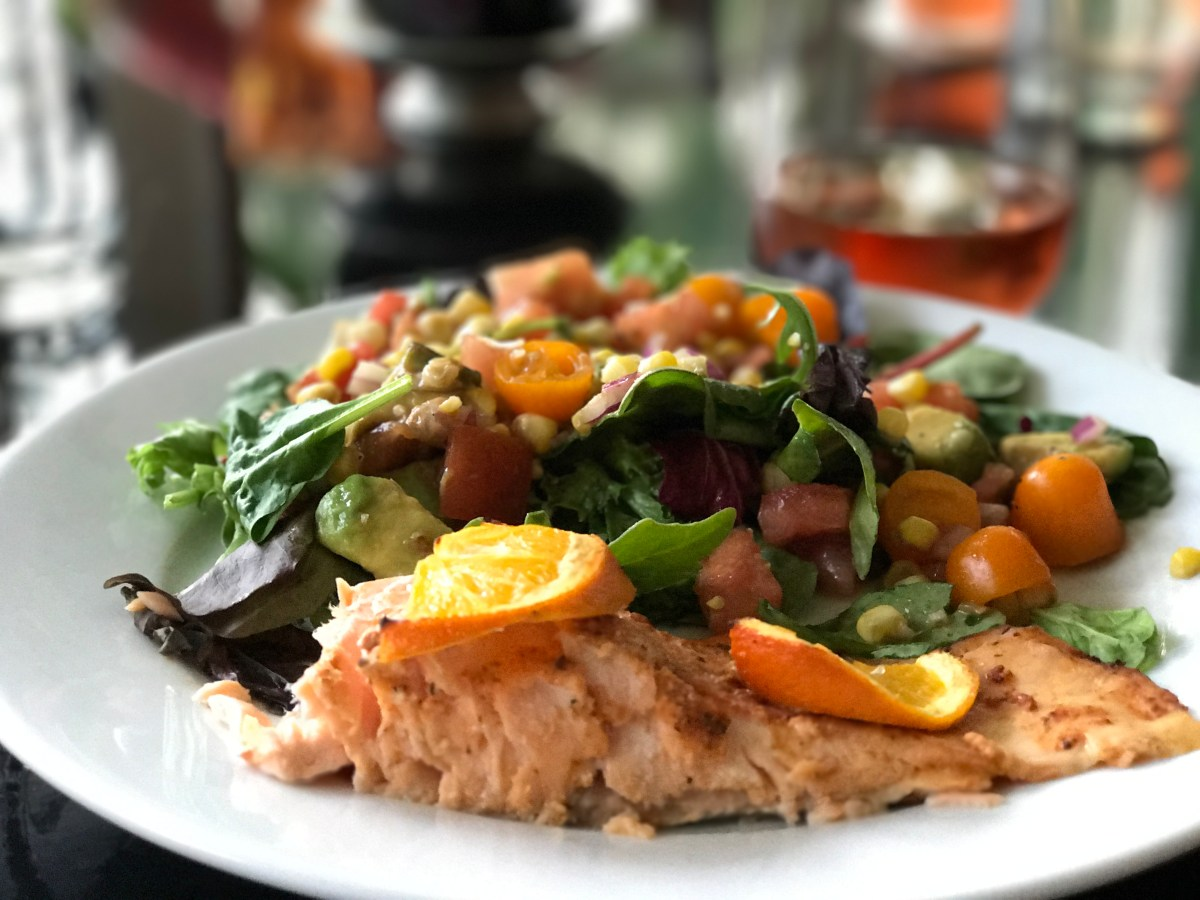 Orange and Ginger Salmon with Heirloom Tomato, Avocado, and Corn Salad - Episode 14 - Dads Can Cook Too - Cooking Live