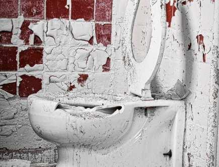 messy and broken toilet