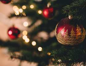 Christmas baubles on Christmas tree