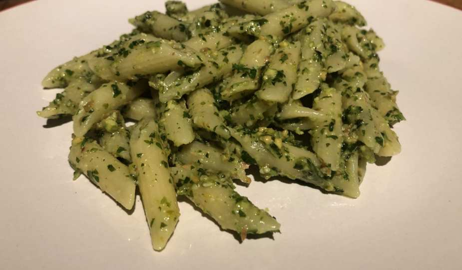 Vegan Herb and Pistachio Pesto Pasta on a plate