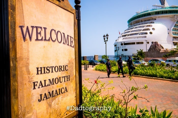 Falmouth, Jamaica - Welcome Sign with a Royal Caribbean ship in the background.