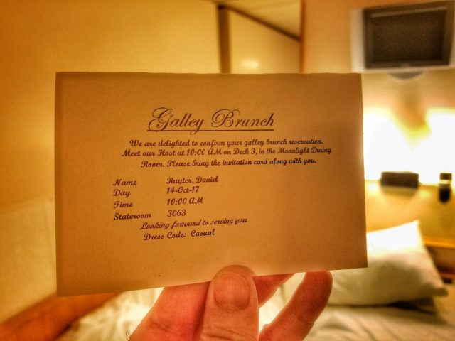 RCI Majesty of the Seas Review - Galley Brunch Invite