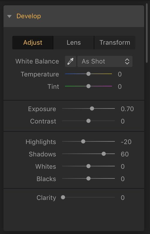 Develop Settings - Exposure and Highlights
