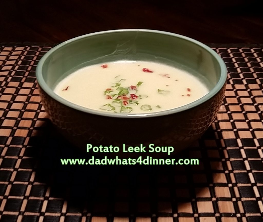 This Potato Leek Soup will hit the spot when it is cold outside. The soup is comfort food at its best! Smooth and creamy!    www.dadwhats4dinner.com