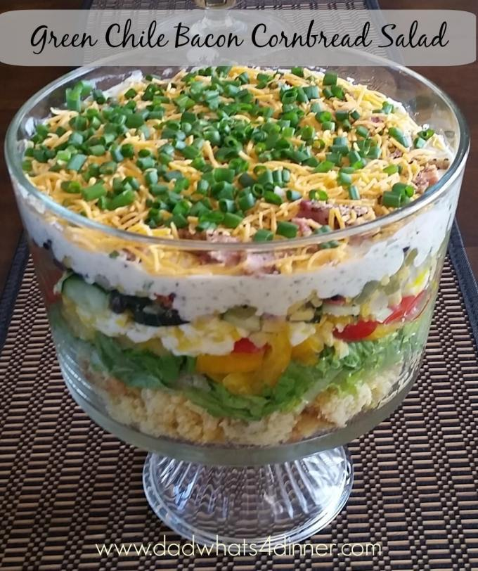 My Cornbread Salad is a loaded layered salad made with my awesome Green Chile Bacon Cornbread.