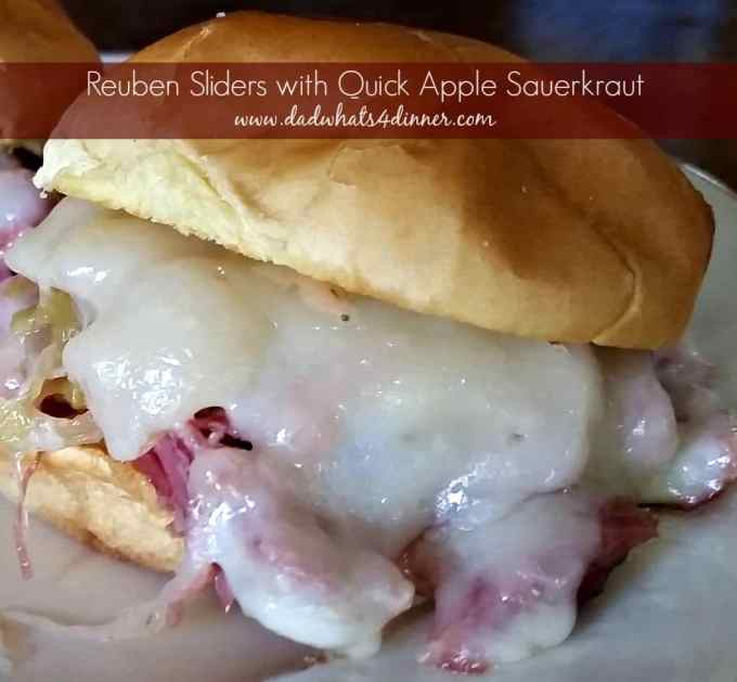 Make these Reuben Sliders with Quick Apple Sauerkraut to celebrate Okotoberfest or for a great tailgating smack for the big game,