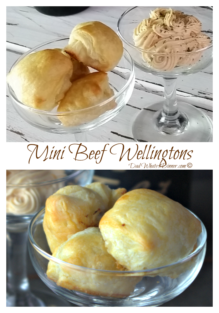 My Mini Beef Wellingtons are the perfect appetizer to ring in the New Year at a fancy party or to impress your football buddies! #appetizers #Newyearseve #christmas #recipe www.dadwhats4dinner.com