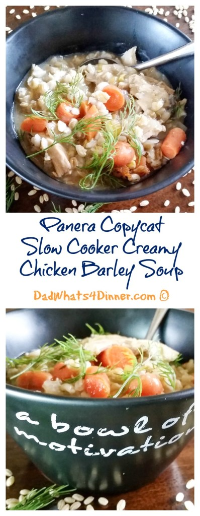 Panera Copycat Slow Cooker Creamy Chicken Barley Soup is perfect for a cold winter's day! Simple and healthy and easily made in the crock pot. | http://dadwhats4dinner.com