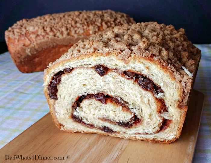 What is better for breakfast than a warm slice of homemade Cinnamon Raisin Swirl Bread with a little melted butter?
