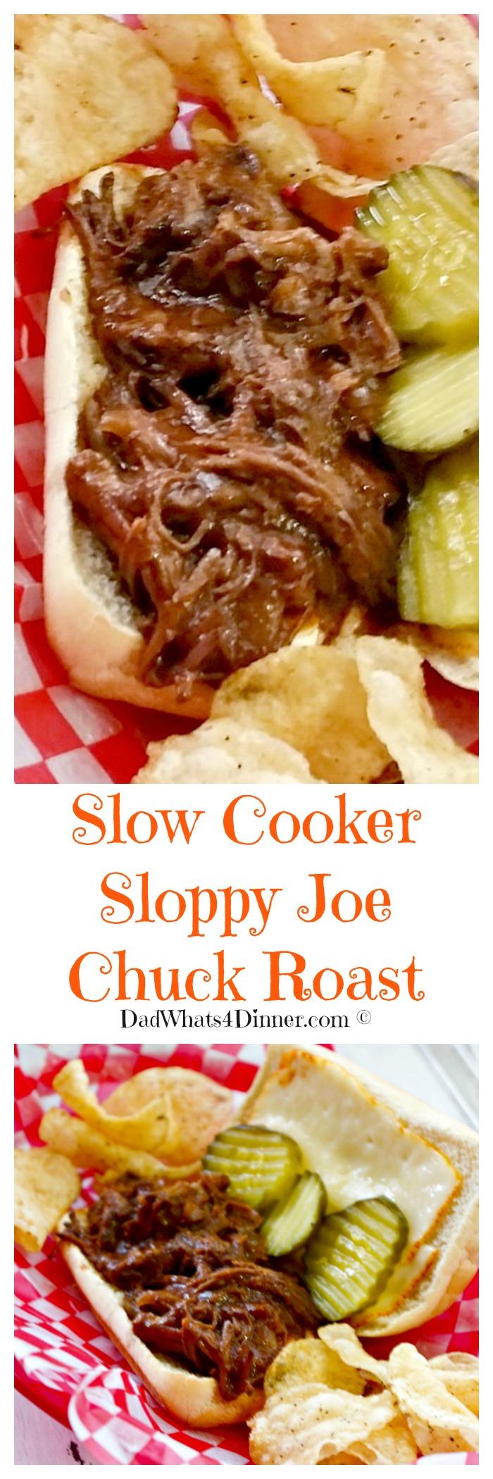 Sloppy Joe Chuck Roast in the Slow Cooker is a 4 ingredient slow cooker twist on the traditional sloppy Joe sandwich that your family will love. #slowcooker #crockpot #sloppy-joe #dinner #easy #kid-friendly www.dadwhats4dinner.com