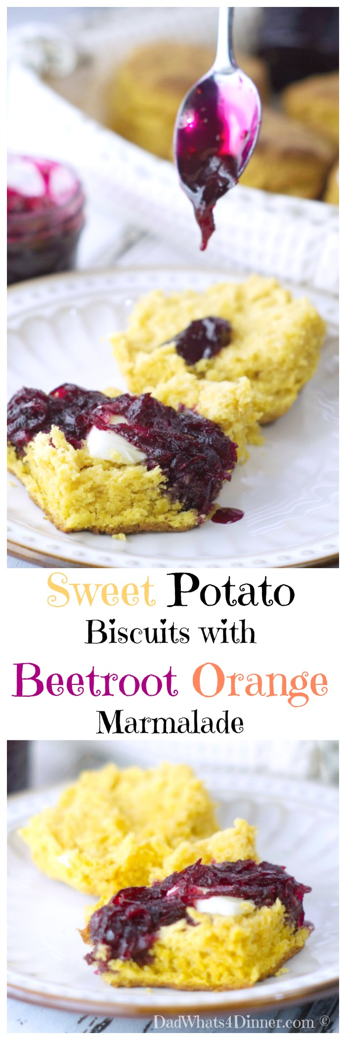 Sweet Potato Biscuits with Beetroot Orange Marmalade probably isn't what your mother had in mind when she told you to eat your veggies.