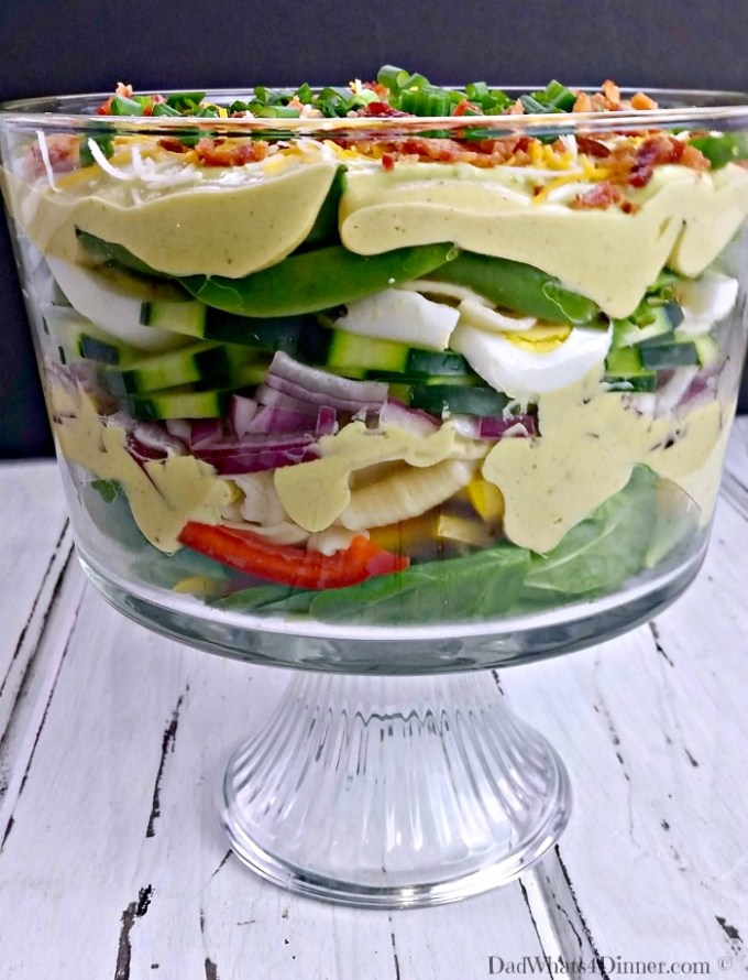 The dressing in my Creamy Layered Pasta Salad has to be the best dressing I think I have ever made. Creamy, eggy, tangy and bold!
