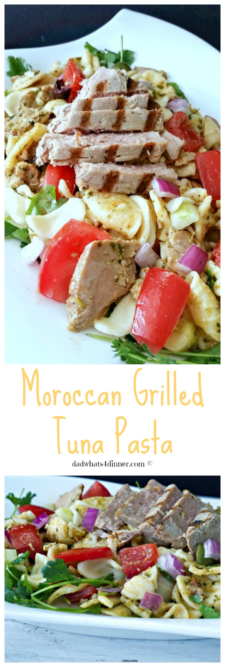 My Moroccan Grilled Tuna Pasta, loaded bold flavors, is a wonderful fresh dinner idea for spring and summer.
