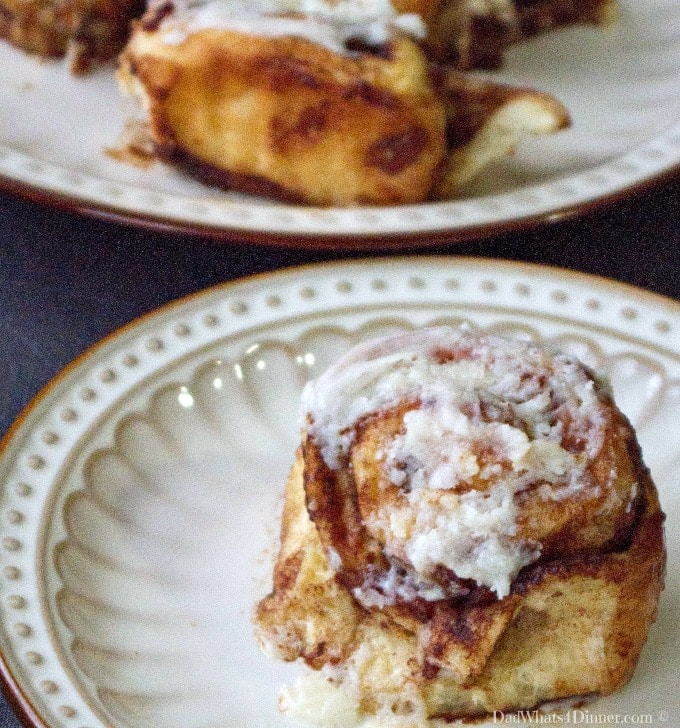 Warm gooey Maple Bacon Cinnamon Rolls are perfect for a weekend brunch or tailgating at your next soccer weekend.