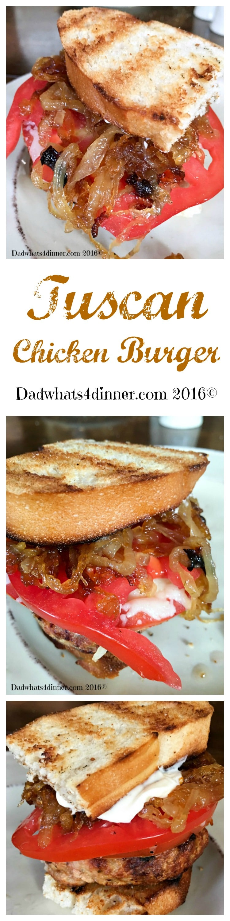 The taste of Italy comes alive in my Tuscan Chicken Burger. Full of Italian seasonings, topped with fresh mozzarella and garden tomatoes. www.dadwhats4dinner.com