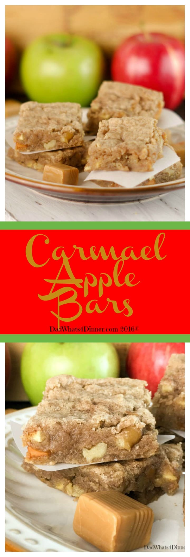 Apple picking season is here and if you want a taste of fall in a blondie then my Caramel Apple Bars will be your new favorite sweet treat. #apples #appleweek #fall #desserts www.dadwhats4dinner.com