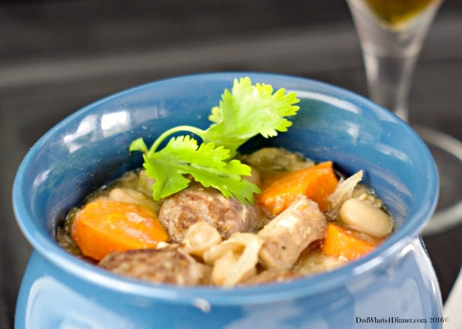 Slow Cooker Oktoberfest Stew is a wonderful fall meal featuring pork, bratwurst, white beans, beer and veggies.