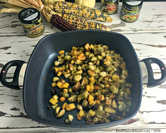 This Thanksgiving try a new twist on stuffing with this Roasted Brussels Sprouts and Butternut Squash Bread Stuffing. Lots of veggies and full of flavor!