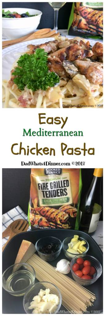 When you need a healthy, kid friendly, 30 minute meal try my Easy Mediterranean Chicken Pasta. Fire grilled chicken, veggies in a light cream sauce. #ad #recipe @cookedperfect @kroger