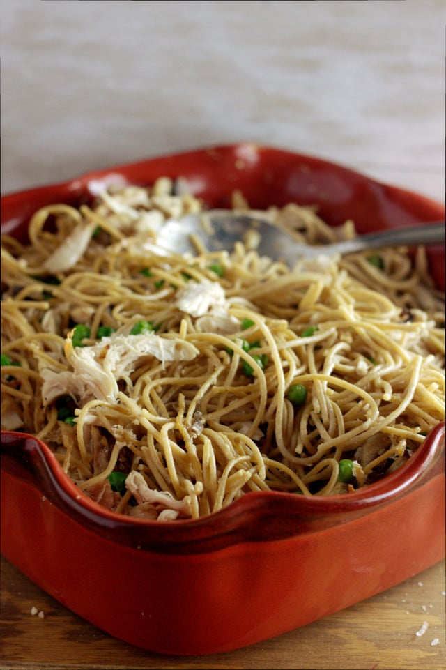 Chicken and Pea Tetrazzini with Mushroom Sauce
