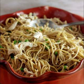 Have you ever forgotten to take something out for dinner?! It' s like pure panic sinks into your heart and you do a mental scrounging of our kitchen to see if there is something that you could possibly throw together that might appease the hungry hoard waiting for you at home. My recipe for my Chicken and Pea Tetrazzini with mushroom sauce is super easy to make and eat. One thing that makes this so easy is by buying a rotisserie chicken.
