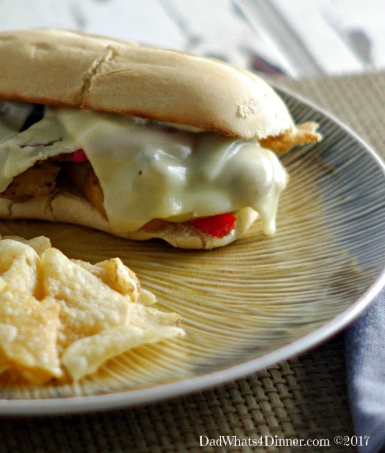 Sheet Pan Philly Chicken Cheesesteaks is a quick and easy way to get your cheesesteak fix at home. Clean up is a snap using only one sheet pan.