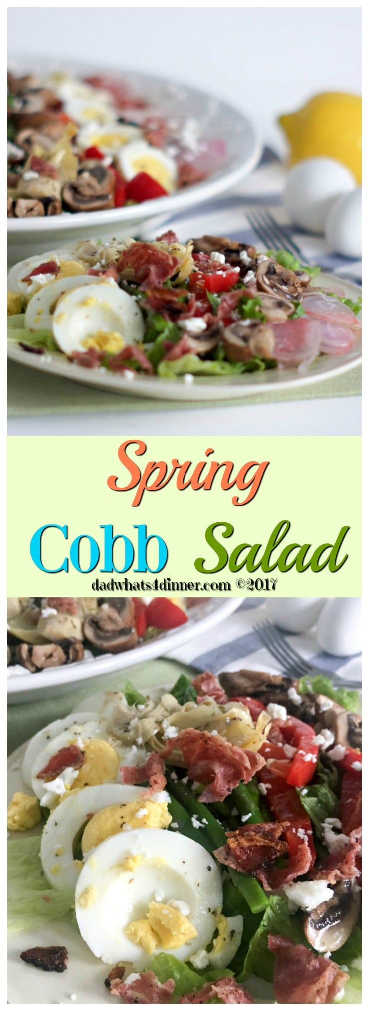 My Spring Veggie Cobb Salad takes advantage of the fresh produce of spring. Perfect for Easter, Mother's Day, a wedding shower or grill out!