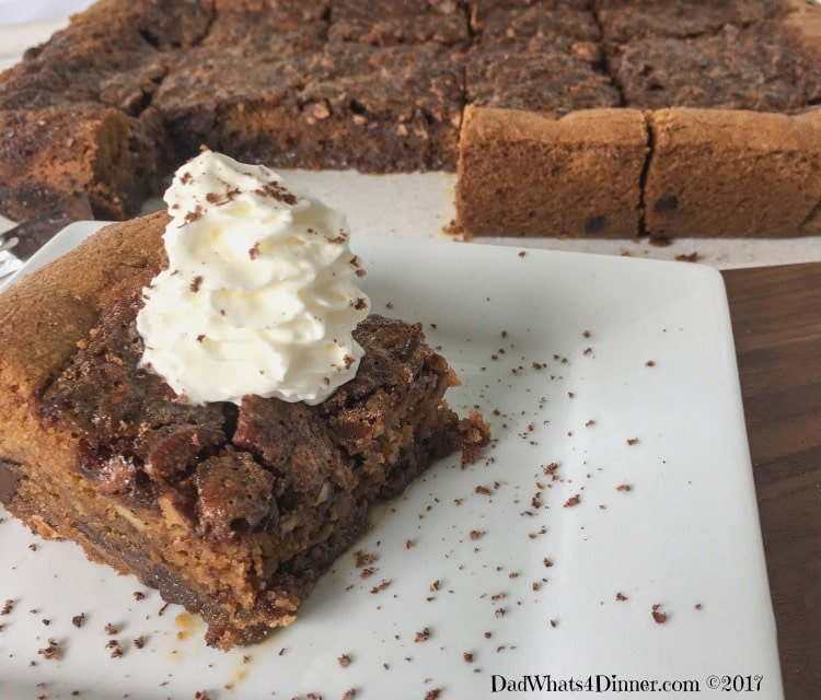 These luscious Derby Day Chocolate Pecan Pie Cookie Bars is the perfect bite size, easy to serve treat for your Derby Day party guests. www.dadwhats4dinner.com