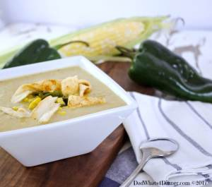 This Roasted Poblano and Corn Chowder a great first course for Cinco de Mayo. Smokey heat with the sweet creaminess of fresh corn and served with toasted flour tortillas. Bonus the chowder is dairy free.