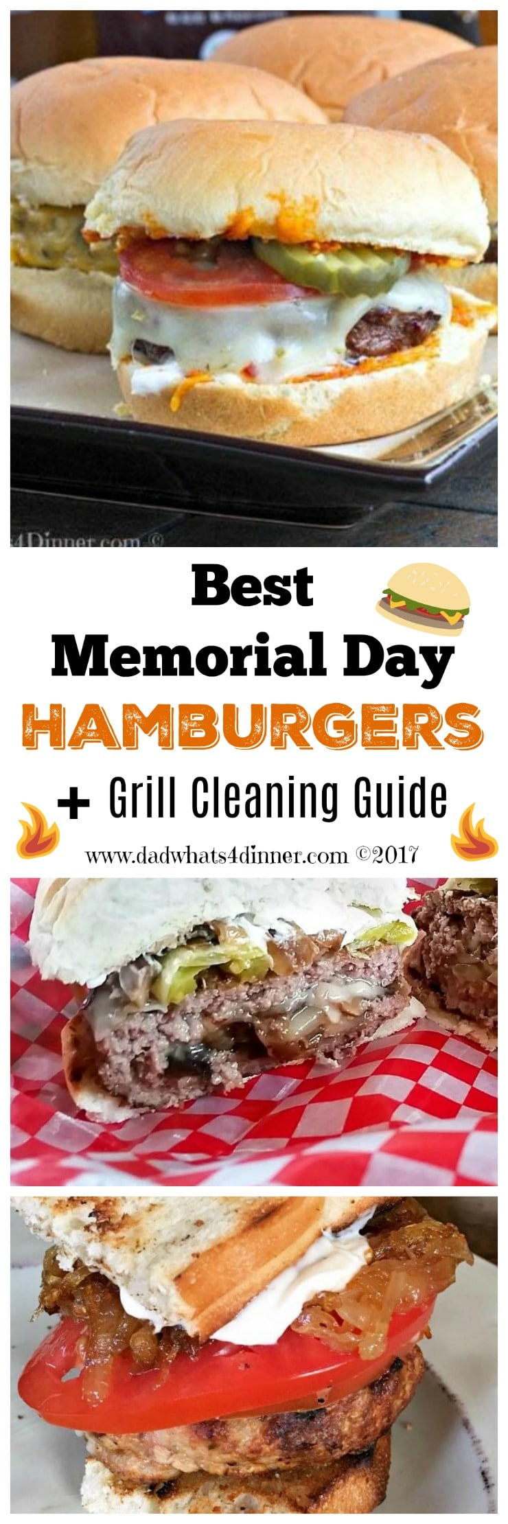 Summer grilling season is in full swing and my Best Memorial Day Hamburgers plus Grill Cleaning Guide is all you need to keep the family fed and happy. #BBQWeek www.dadwhats4dinner.com