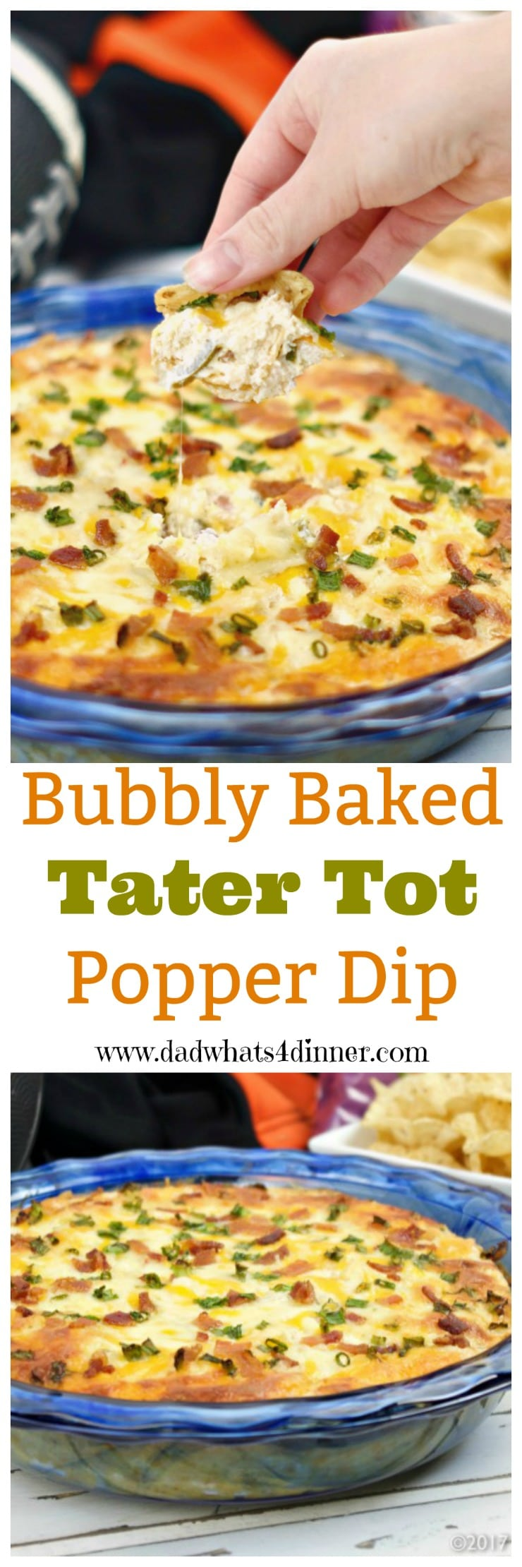 Bubbly Baked Tater Tot Popper Dip is a mash-up of two of my favorites, tater tots, and jalapeno popper dip. Perfect for tailgating or family game night.  #ad @familydollar #gameday #biggame #appetizer #dips #jalapenos #deliciousfood #recipes #tailgating #spicy www.dadwhats4dinner.com