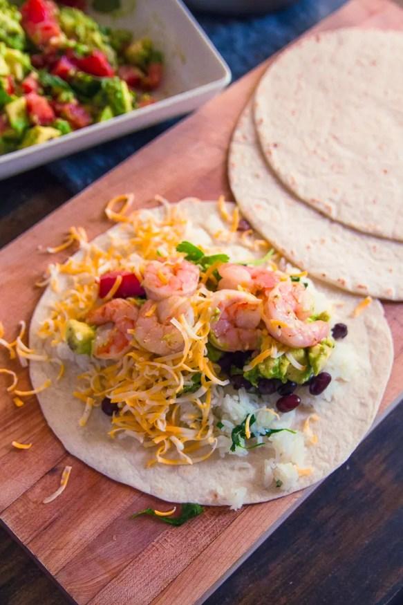 Grilled Lemon And Garlic Shrimp Burrito