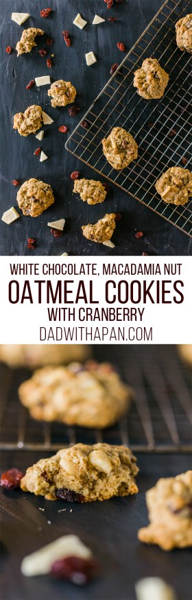 White Chocolate Macadamia Cranberry Oatmeal Cookies that are perfectly chunky, and soft to bite into all at the same time!