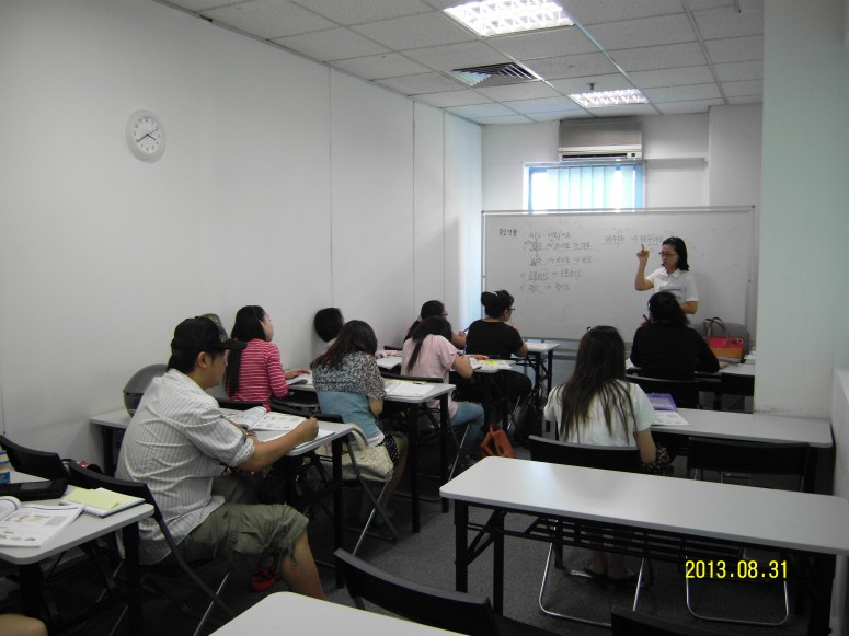 Teacher Ms Park Sukyung and her students Learn Easy Korean at Daehan Korean Language Centre