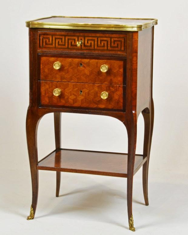 A Superior Early 20th Century French Marble Top Marquetry Two Tier