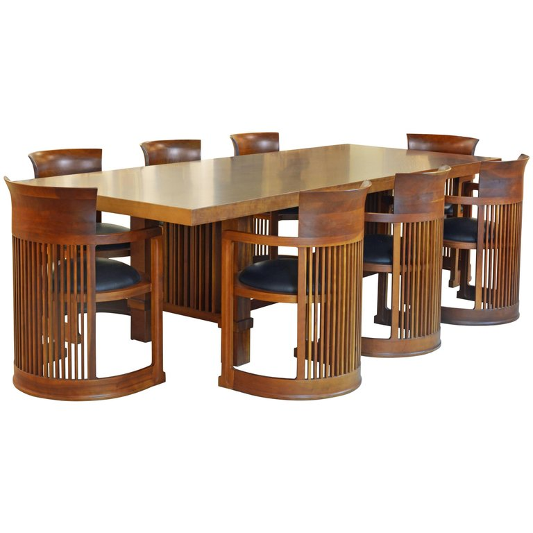 Frank Lloyd Wright Inspired Cherrywood Dining Table U0026 Eight Chairs With  Leather