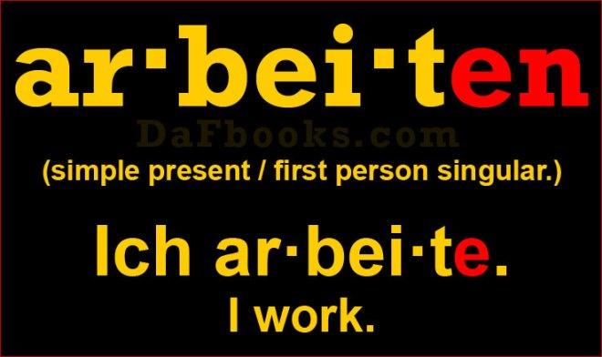 Conjugation: Arbeiten (Ich arbeite.)